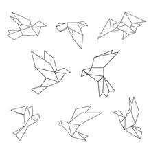 Set Of Black Line Geometric Do...