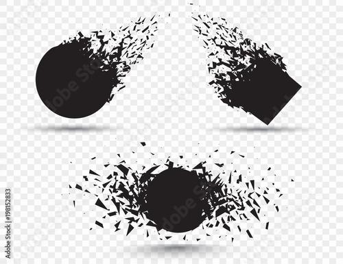Fotografía  Black square stone with debris isolated