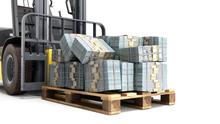 Stack Of Dollar Money Bills On Wooden Pallet With A Forklift Loader 3d Render On A White Background