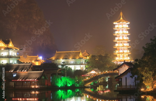 Foto op Canvas Guilin Folded Brocade Hill pagoda landcape in Guilin China
