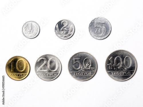 Old Polish coins on a white background Fototapeta