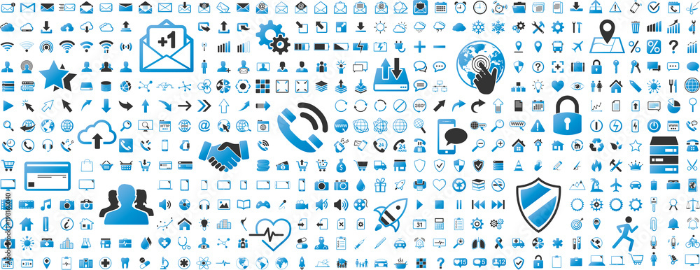 Fototapeta Black and blue web business technology icons set