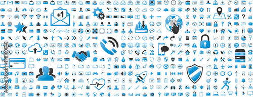 Fototapeta Black and blue web business technology icons set obraz
