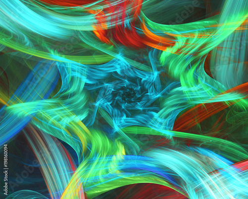 Poster Fractal waves Abstract background. Fractal strokes