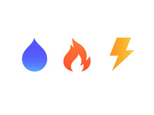 Vector Icons Of Fire, Water An...