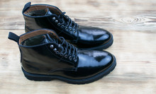 Black Lacquered Men's High Lace-up Shoes