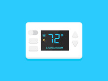 Digital Modern Thermostat. Flat Design Vector Illustration