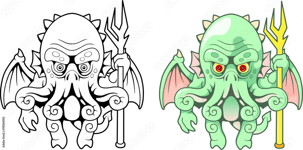 Photo  cartoon sea monster Cthulhu, funny illustration