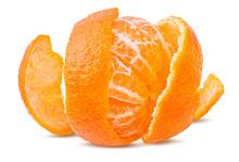 Fresh Peeled Mandarin Orange Isolated On White Background With Clipping Path