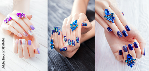 Three types of manicure with earrings on white and black background. Variants of purple, white, blue color and sparkles.