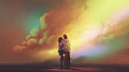 Fototapeta Romantyczny couple in love riding on bicycle against night sky with colorful clouds, digital art style, illustration painting