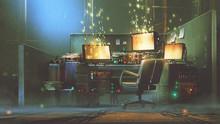 Futuristic Workspace With Spar...