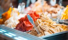 Ice Cream In Showcase Fridge At Pastry Shop
