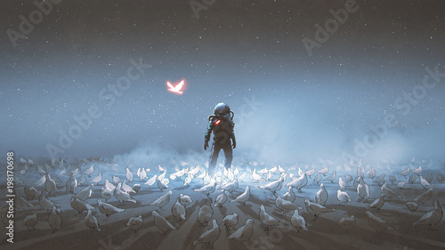 Photo  astronaut standing among flock of bird, single glowing unique bird flying around, digital art style, illustration painting