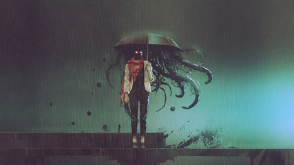 horror concept of mystery w...
