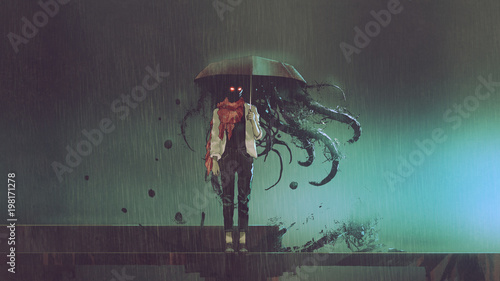 horror concept of mystery woman holding the umbrella with black tentacles inside in the rainy night, digital art style, illustration.