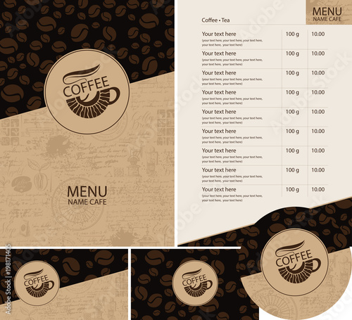 Menu Price List Business Cards And Coasters For Drinks With Cup Of Hot Coffee On Background Beans Pattern Old Mcript