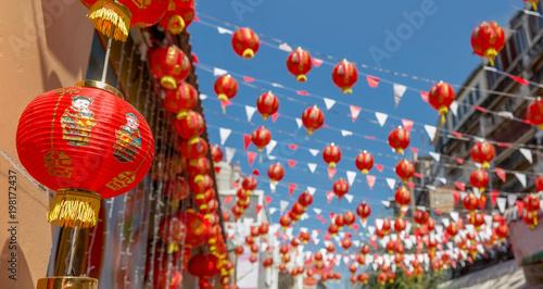 Tuinposter China Chinese new year lanterns in china town.