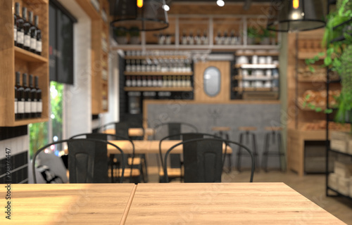Fototapeta Interior of a cafe with a bar counter. Blurred background and table surface in the foreground. 3D rendering with depth of field. obraz