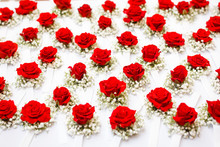 Roses Lay In A Row On A White Table, Close-up