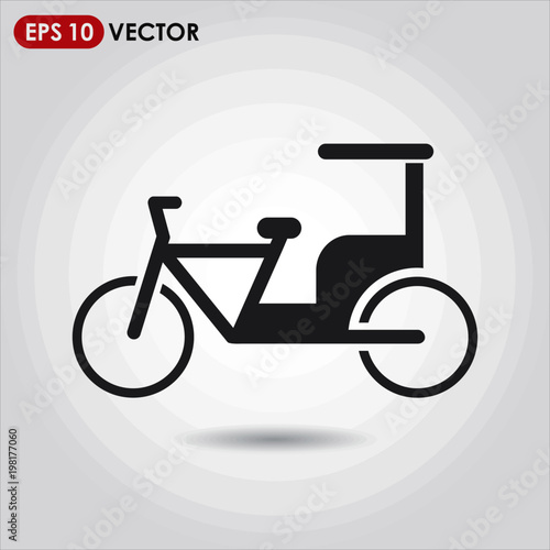 Fototapeta  rickshaw single vector icon on light background