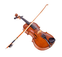 Viola With Bow Isolated On Whi...