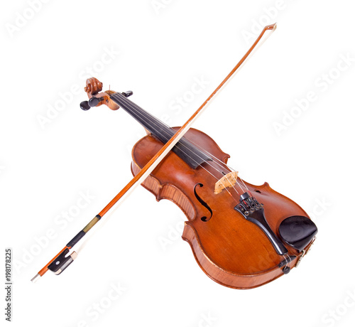 Fotografie, Obraz  Viola with bow isolated on white background