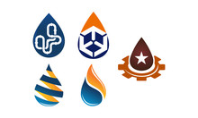 Water Fire Flame Gas Oil Set