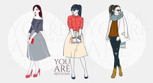 Beautiful Young Women In A Fashion Retro Clothes In Glasses With Bag. Vector Hand Drawn Illustration.