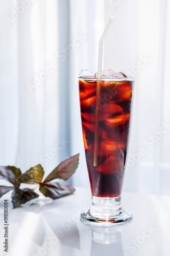cold brew coffee in a tall glass, black ice coffee Poster Mural XXL
