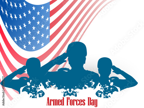 Photo  nice and beautiful abstract, banner or poster for Armed Forces Day with nice and creative design illustration