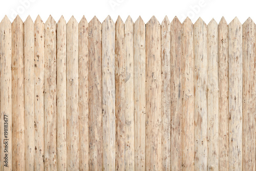 Fotografie, Obraz  Fence from the stockade. Untreated wood. Isolate
