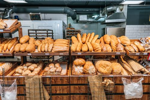 close up view of freshly baked bakery in hypermarket Wallpaper Mural