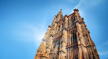 European Historical Gothic Cathedral In Strasbourg In France