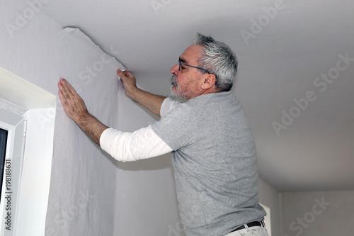 Handwerker bei Tapezierarbeiten Wallpaper Mural
