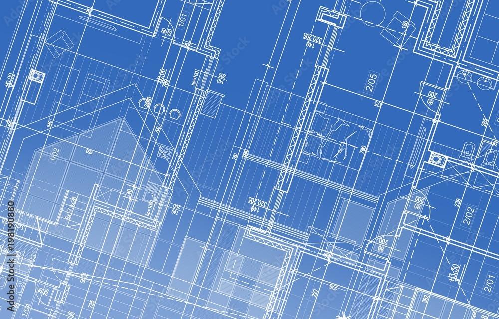 Fototapety, obrazy: House Project Blueprint