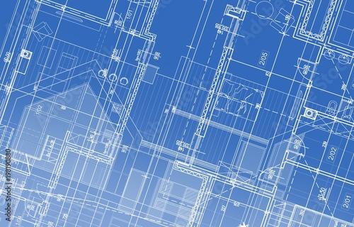 Fotografie, Obraz  House Project Blueprint