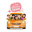 Travel, journey concept. Happy family traveling by car. Cartoon vector illustration