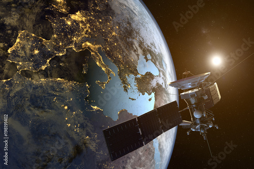 Fotografía  3D rendering of a satellite orbiting the earth with illuminated cities at night