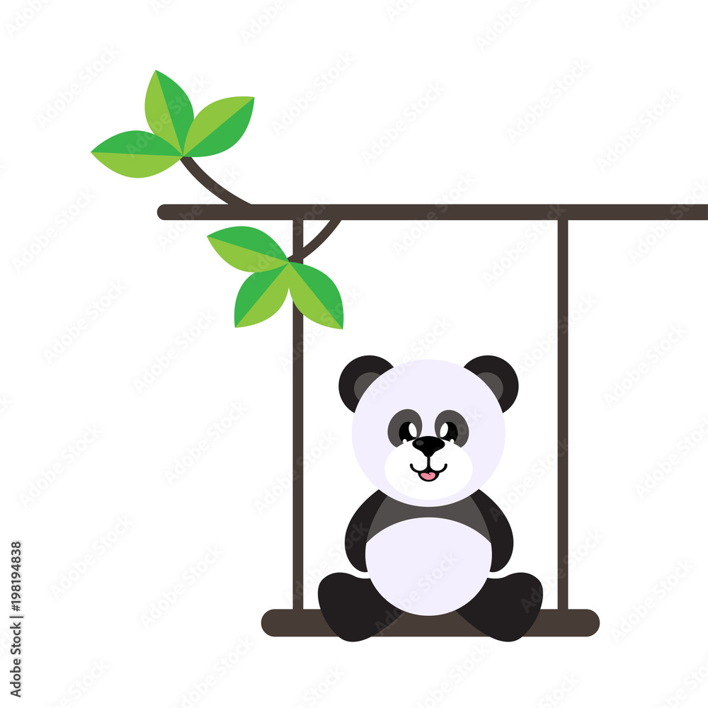 cartoon cute panda on a swing and on a branch