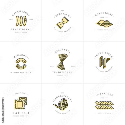 Vector Set Of Logo Design Templates And Emblems Or Badges Italian - Logo creator templates