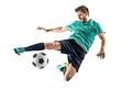 Leinwandbild Motiv one caucasian soccer player man isolated on white background