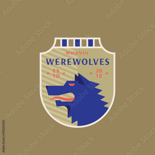 8d51c0912 Werewolves Medeival Sports Team Emblem. Abstract Vector Sign, Symbol or  Logo Template. Angry Wolf Head in a Shield with Vintage Typography.