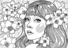 Vector Cute Beautiful Girl In The Garden Among The Flowering Jasmine Trees, In Her Hair Large Fragrant Flowers