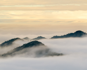 FototapetaMountains in the clouds during sunrise seen from Xiding viewpoint in Alishan, Taiwan