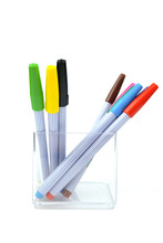 Colorful Pens In Clear Plastic