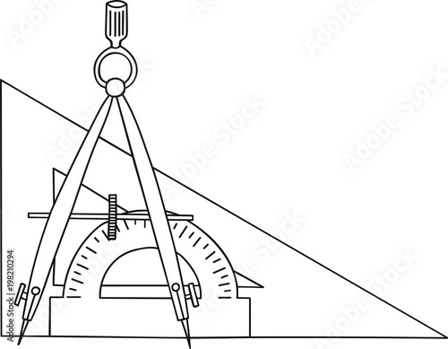 Hand Drawn Doodle Sketch Line Art Vector Illustration of Compasses, Triangle and Protractor Fototapeta