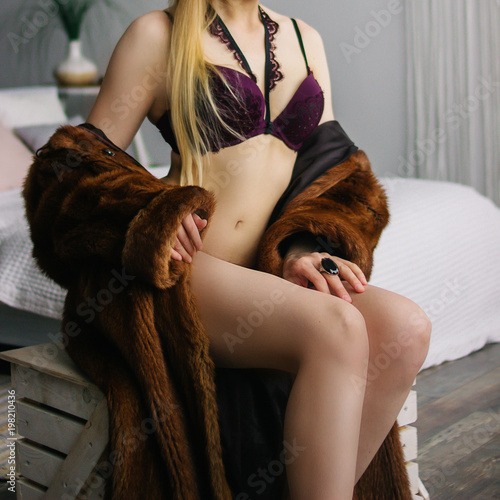 Valokuva  fur luxury lady. The girl in a fur coat. Natural fur