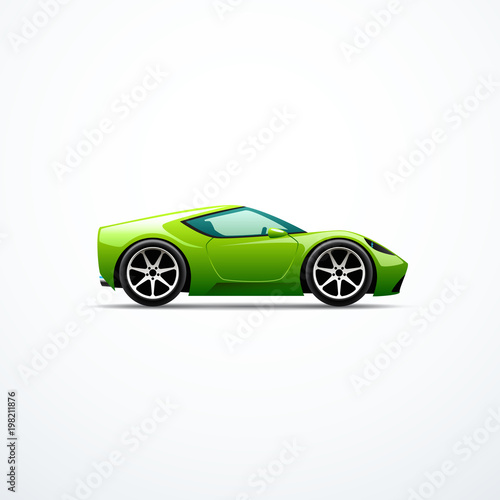 Staande foto Cartoon cars Vector green cartoon sport car. Side view