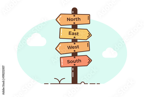 Wooden direction signposts pointing towards four directions Fototapet
